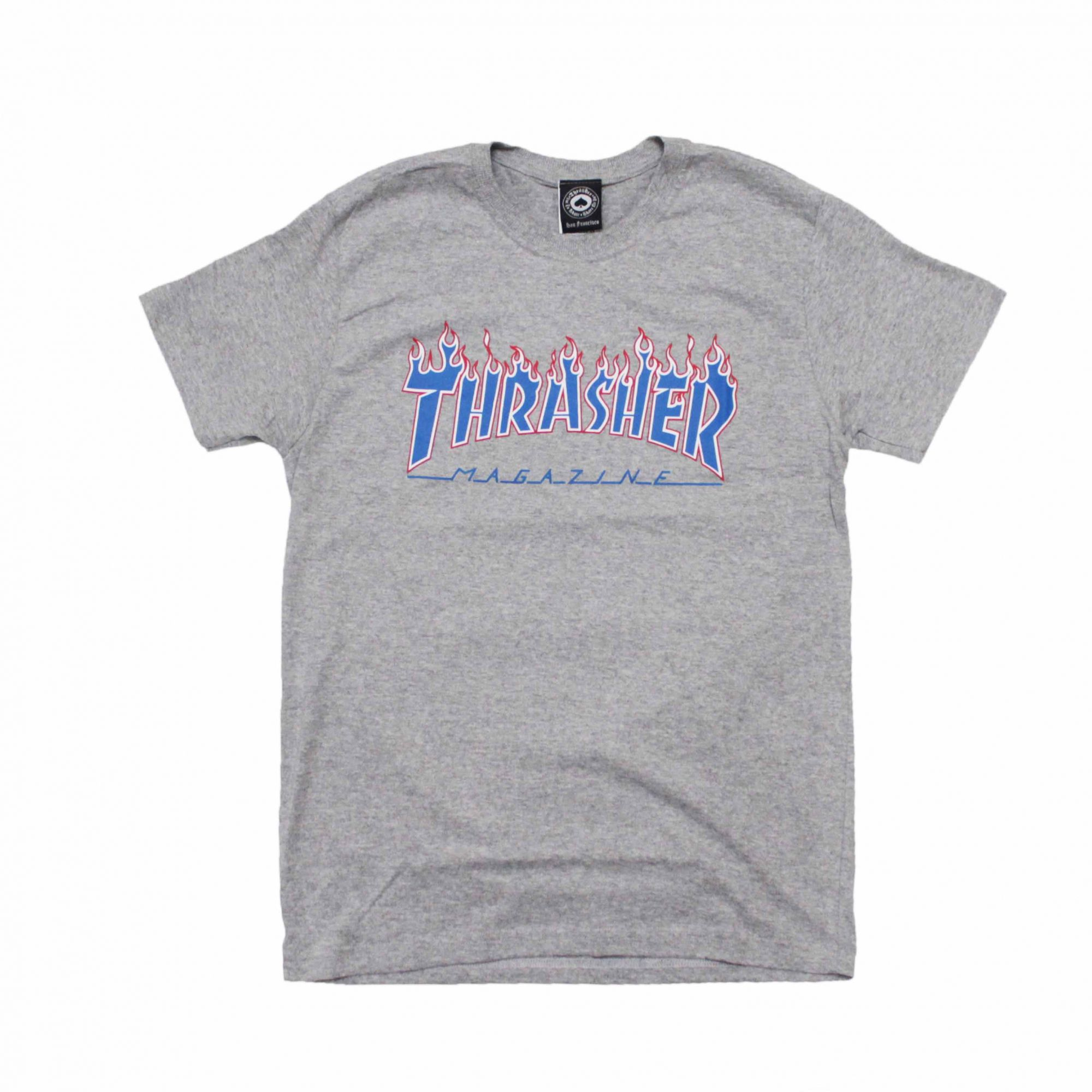 Camiseta Thrasher Magazine Patriot Flame Cinza Mescla
