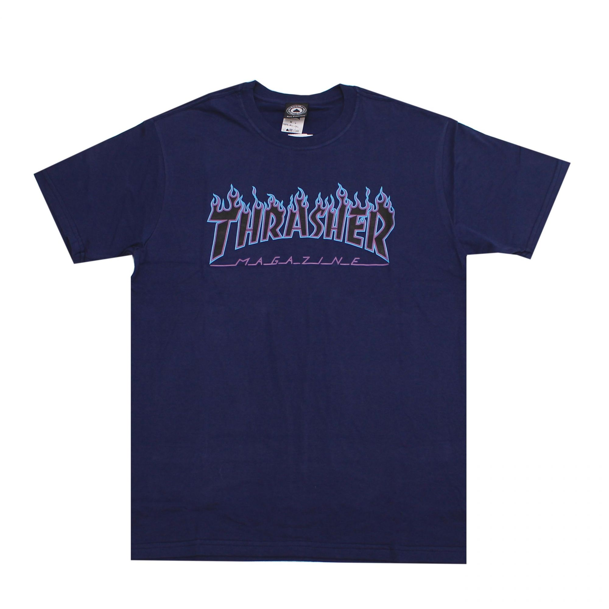 Camiseta Thrasher Magazine Purple Flame Azul Marinho