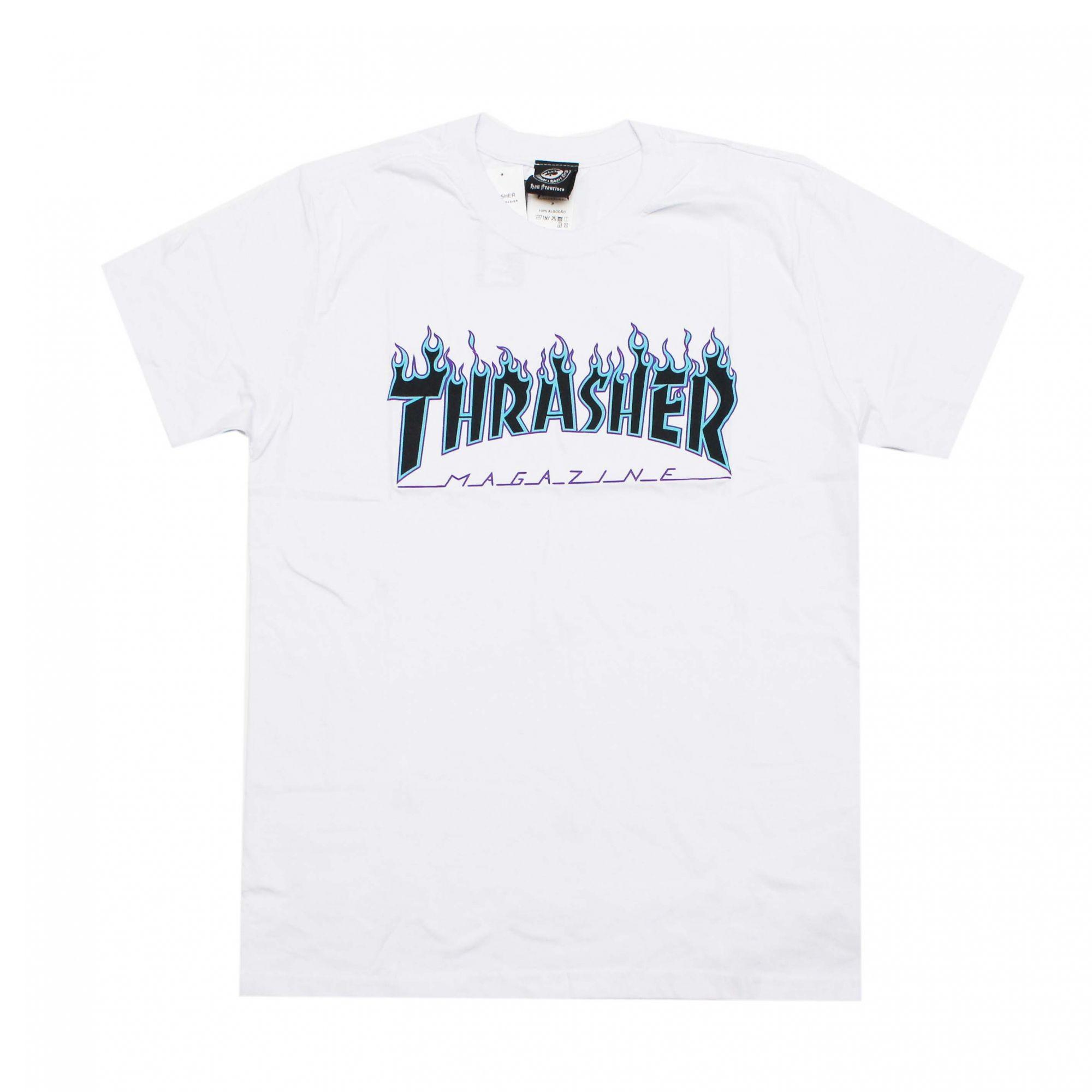 Camiseta Thrasher Magazine Purple Flame Branco