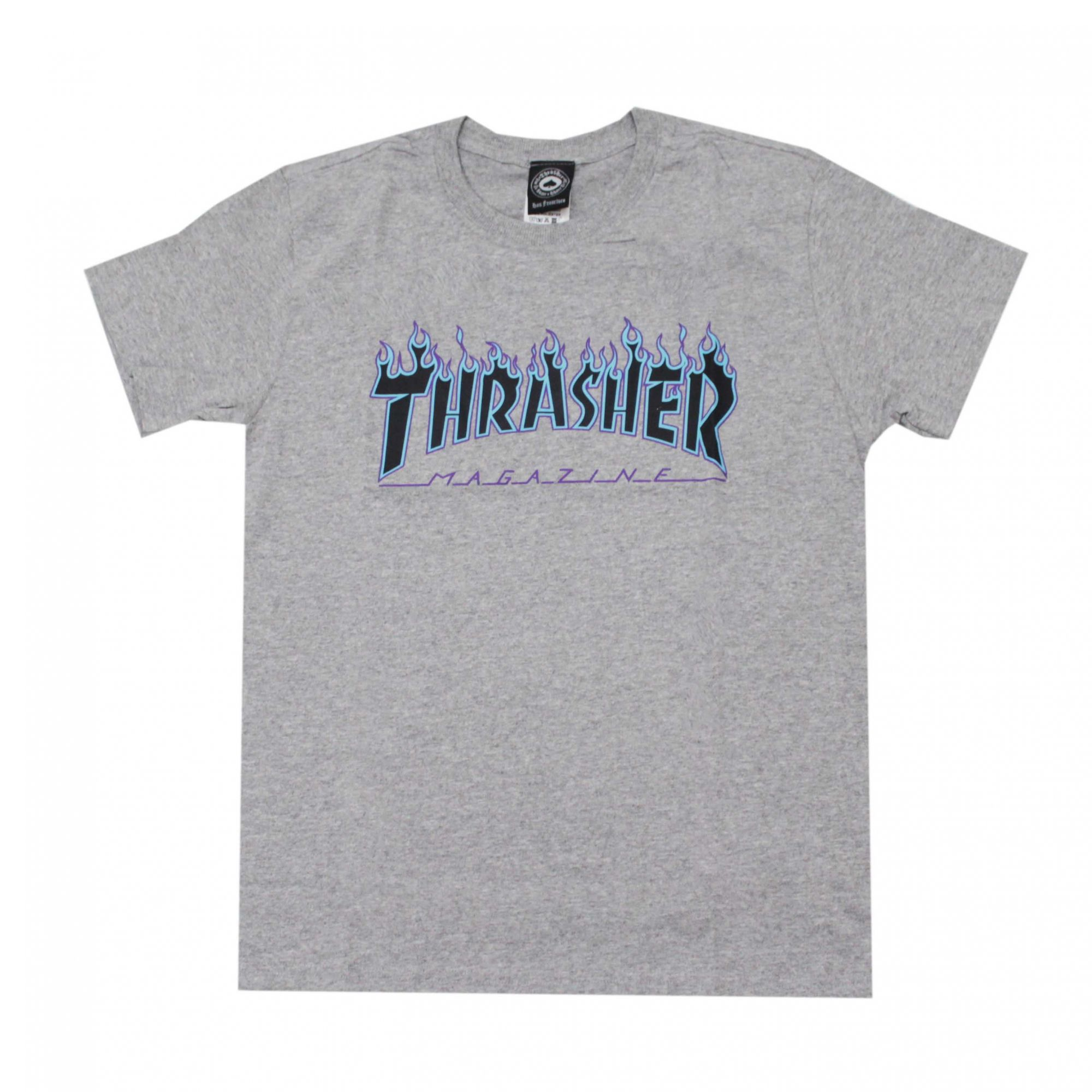 Camiseta Thrasher Magazine Purple Flame Cinza Mescla