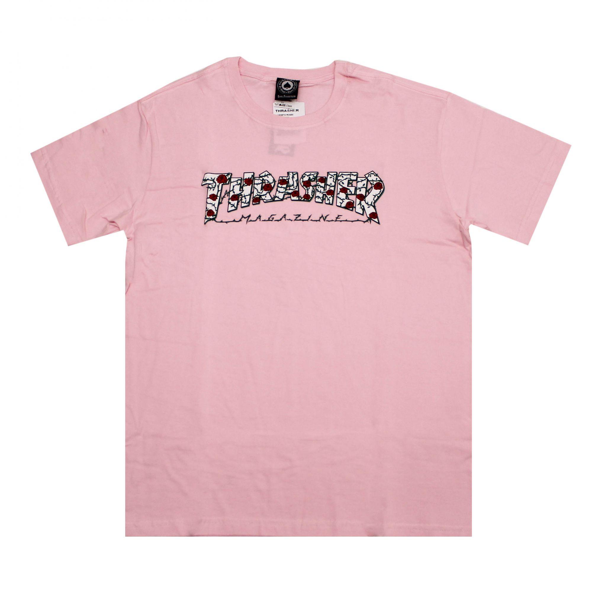 Camiseta Thrasher Magazine Roses Rosa Claro