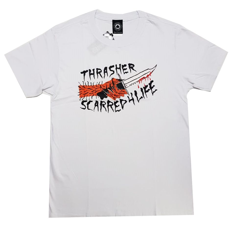 Camiseta Thrasher Magazine Scarred - Branco