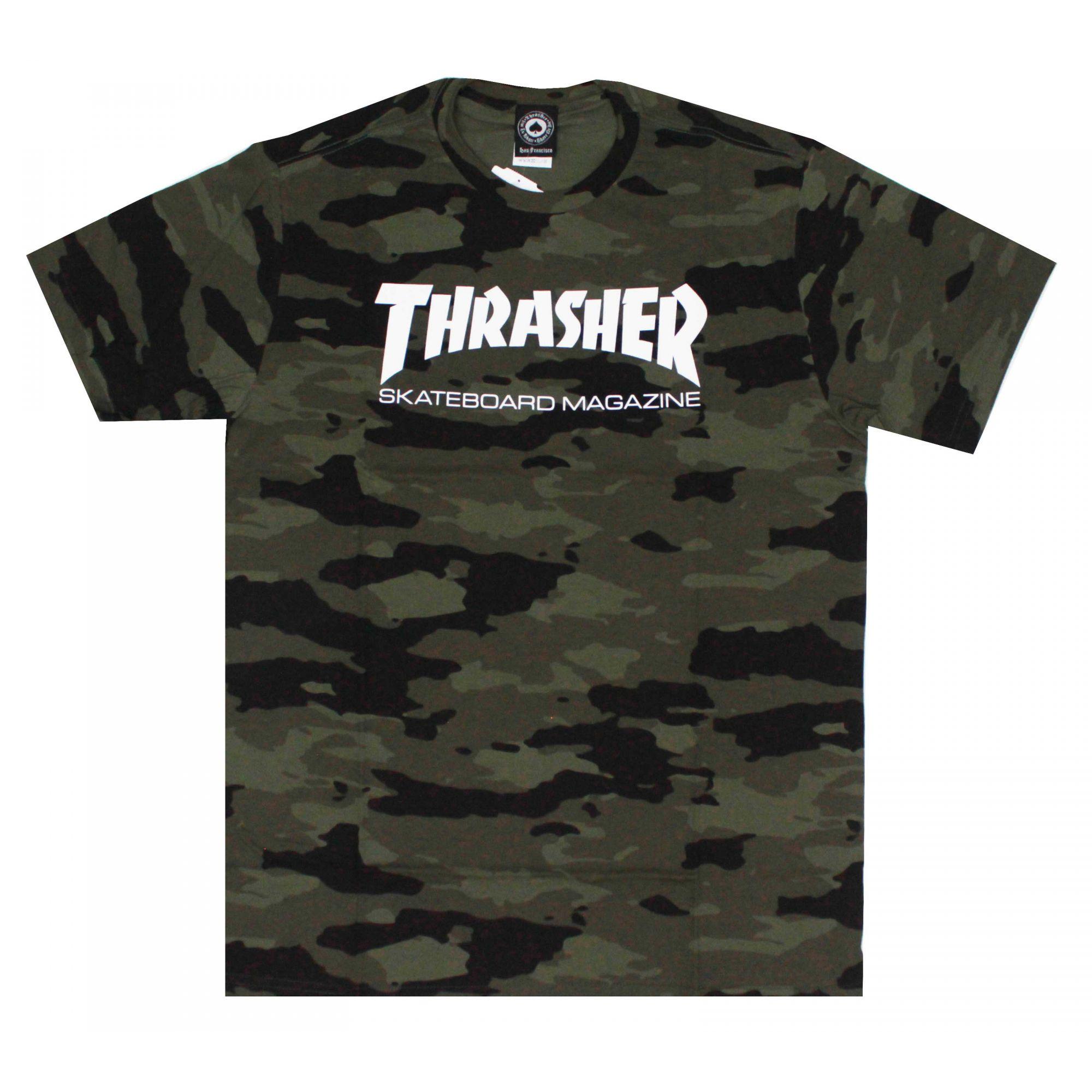 Camiseta Thrasher Magazine Skate Mag Camuflado Verde