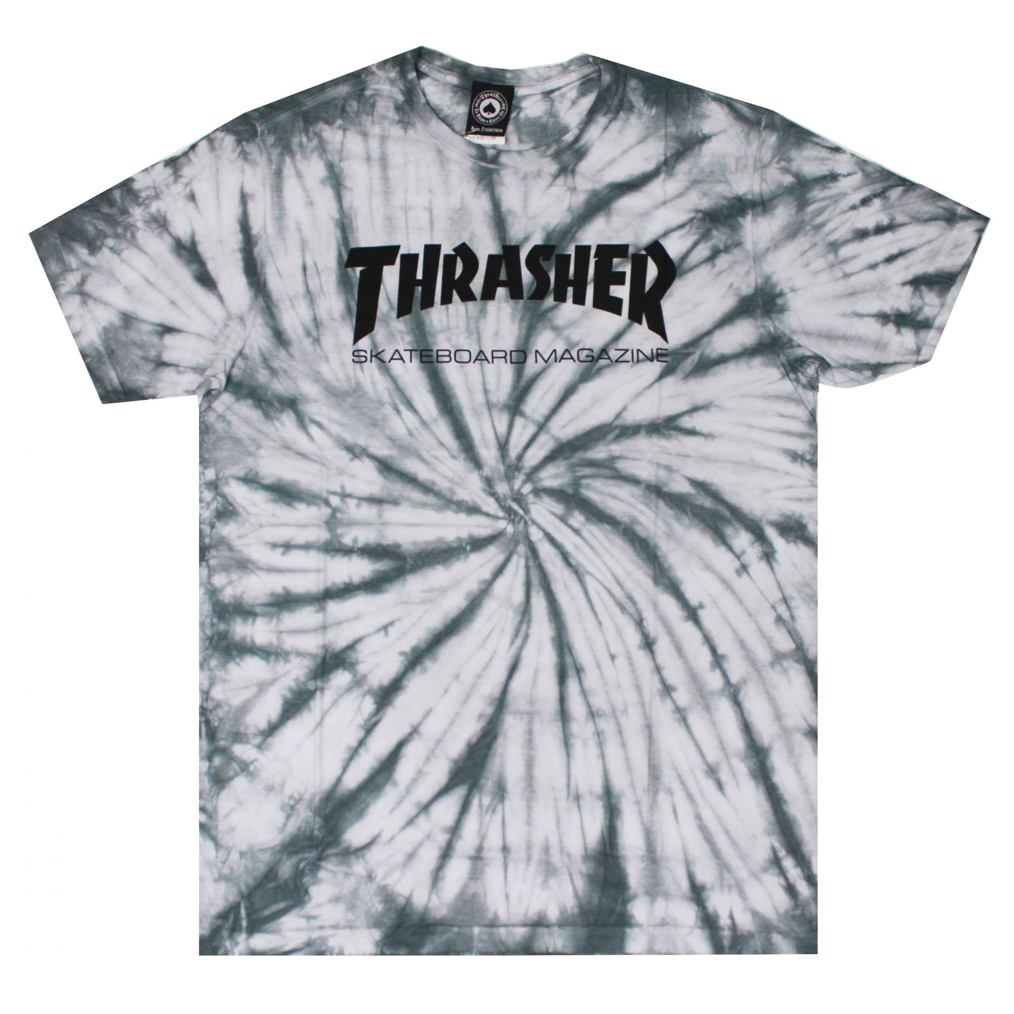 Camiseta Thrasher Magazine Skate Mag Tie Dye Cinza Claro