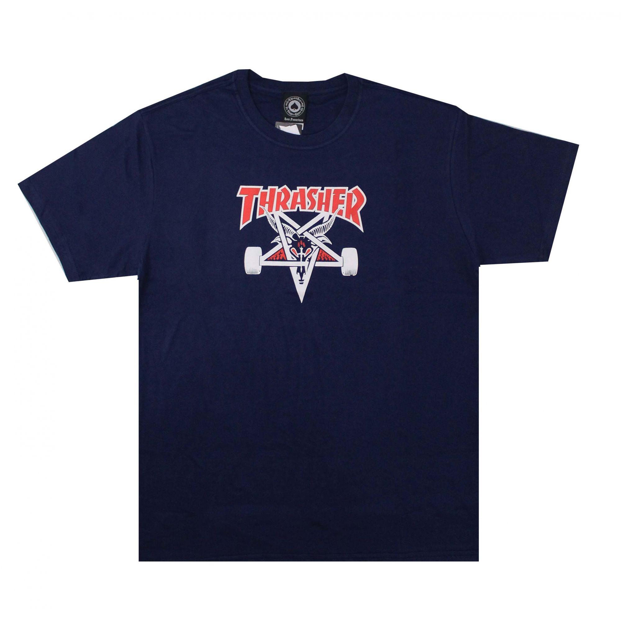 Camiseta Thrasher Magazine Two Tone Skate Goat Azul Marinho