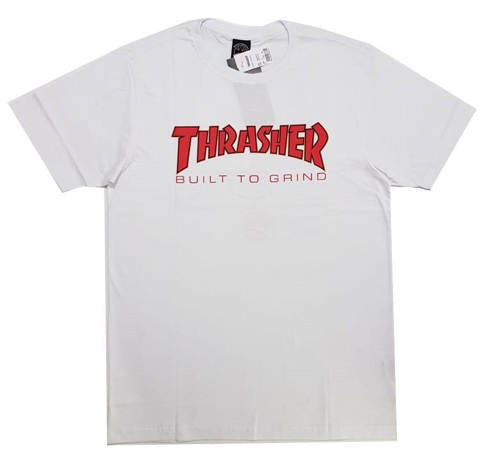 Camiseta Thrasher Magazine x Independent Build To Grind - Branco