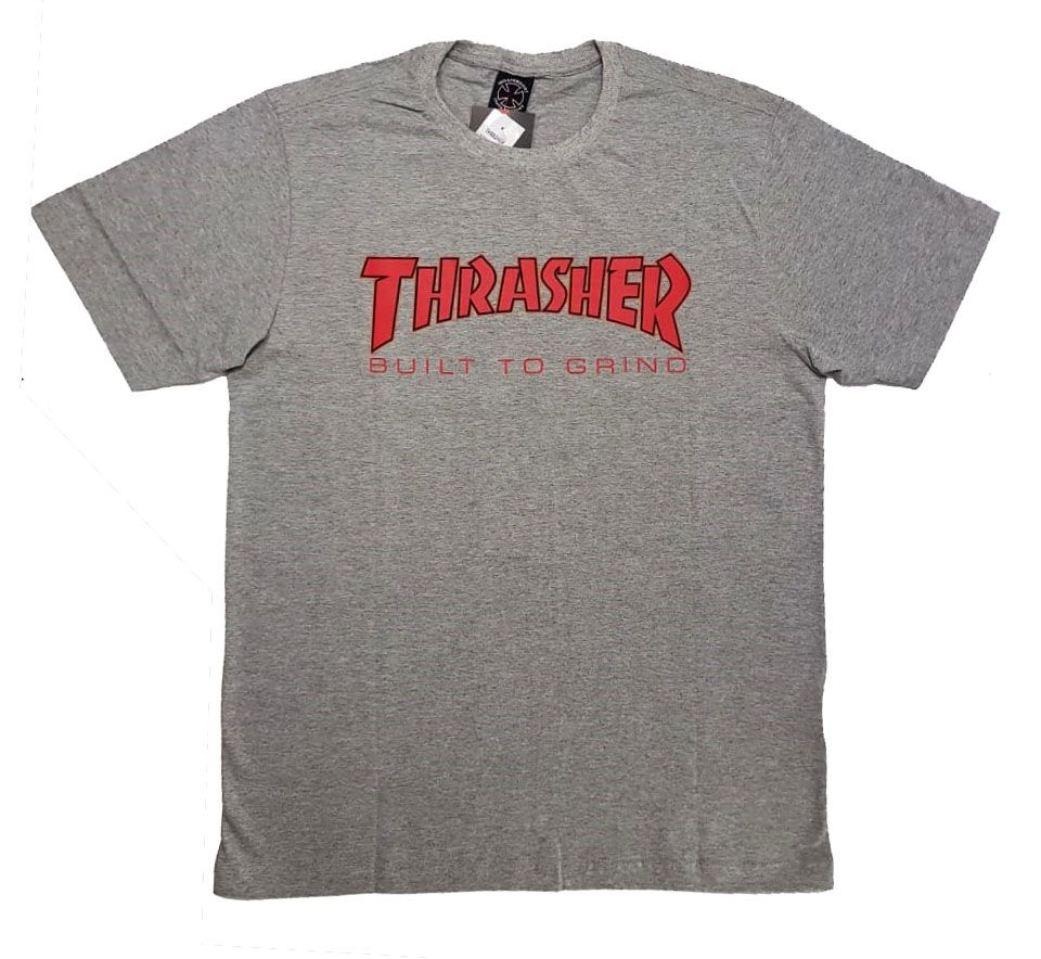 Camiseta Thrasher Magazine x Independent Build To Grind - Cinza Mescla