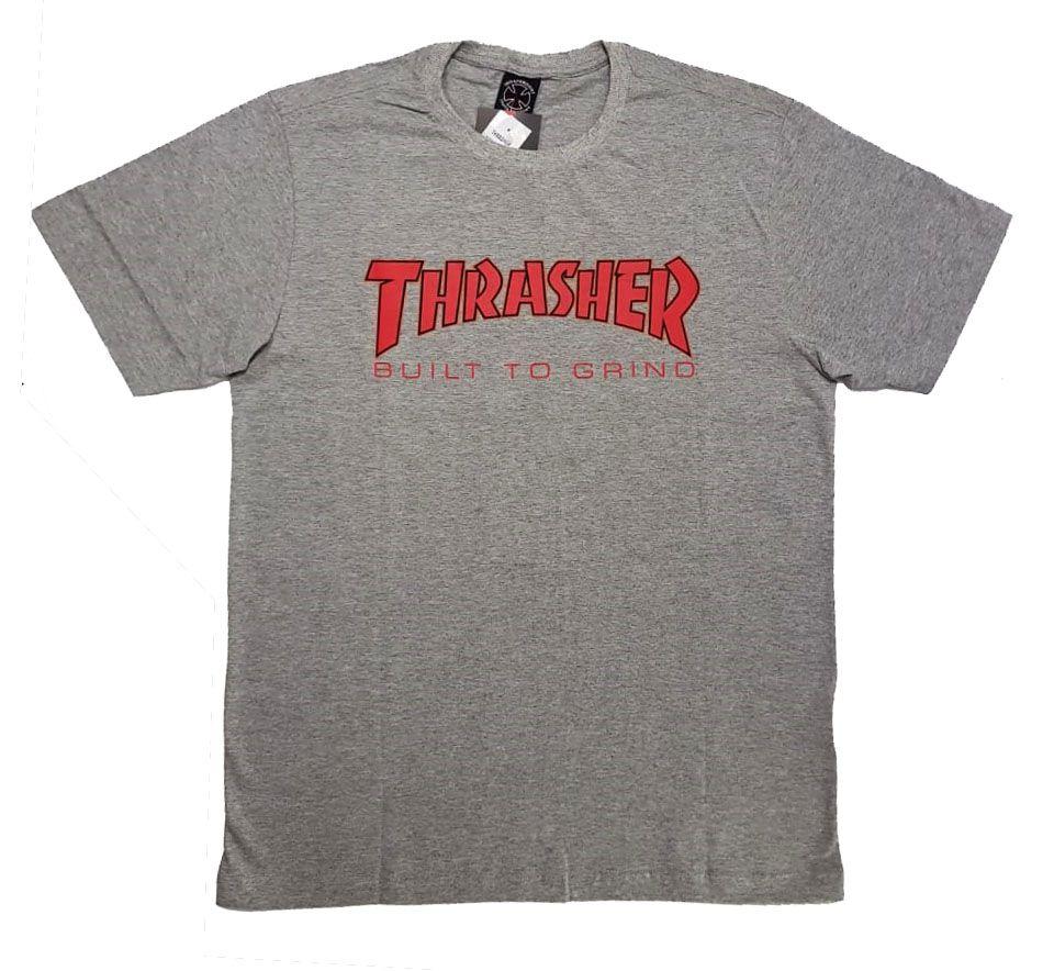 Camiseta Thrasher Magazine x Independent Build To Grind - Cinza Mescla