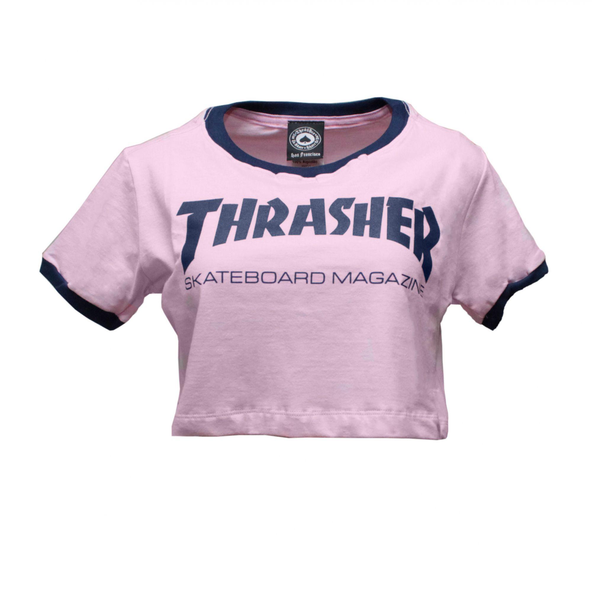 Cropped Thrasher Magazine Skate Mag - Rosa/Azul
