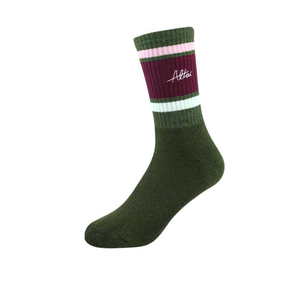 Meia Altai 3 Listras - Verde/Rosa/Vinho/Branco