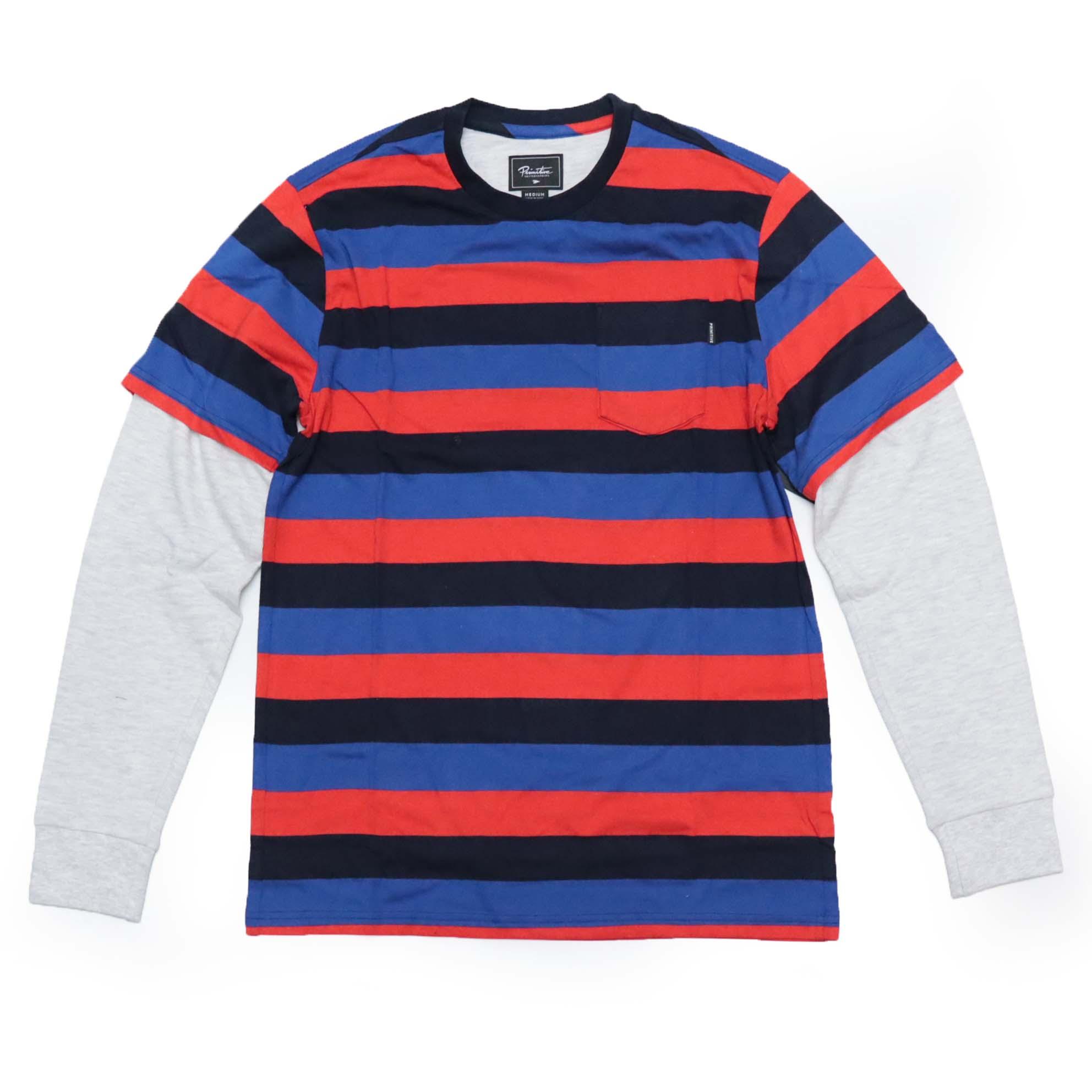 Moletom Primitive TwoFer Stripe Listrado - Azul/Vermelho (Importado)