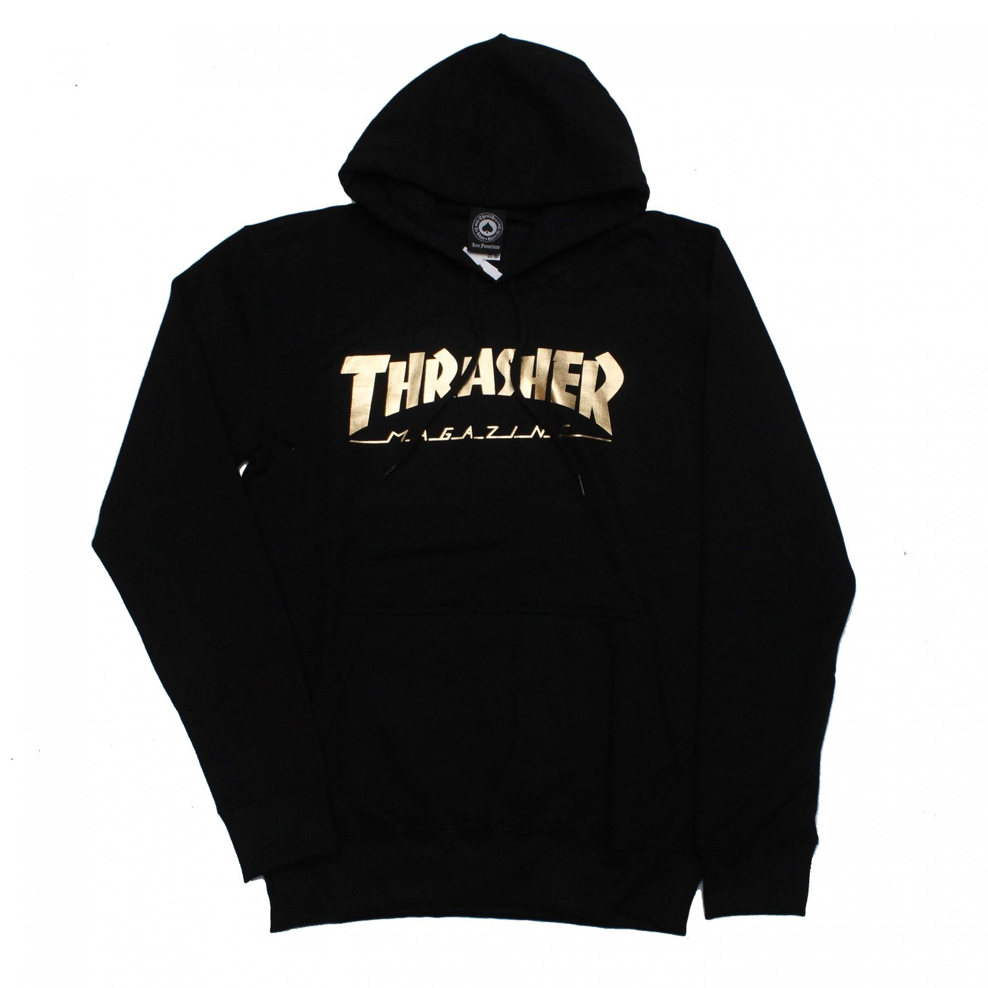 Moletom Thrasher Magazine Canguru Logo Gold Foil Preto (Silk Cromado Ouro)