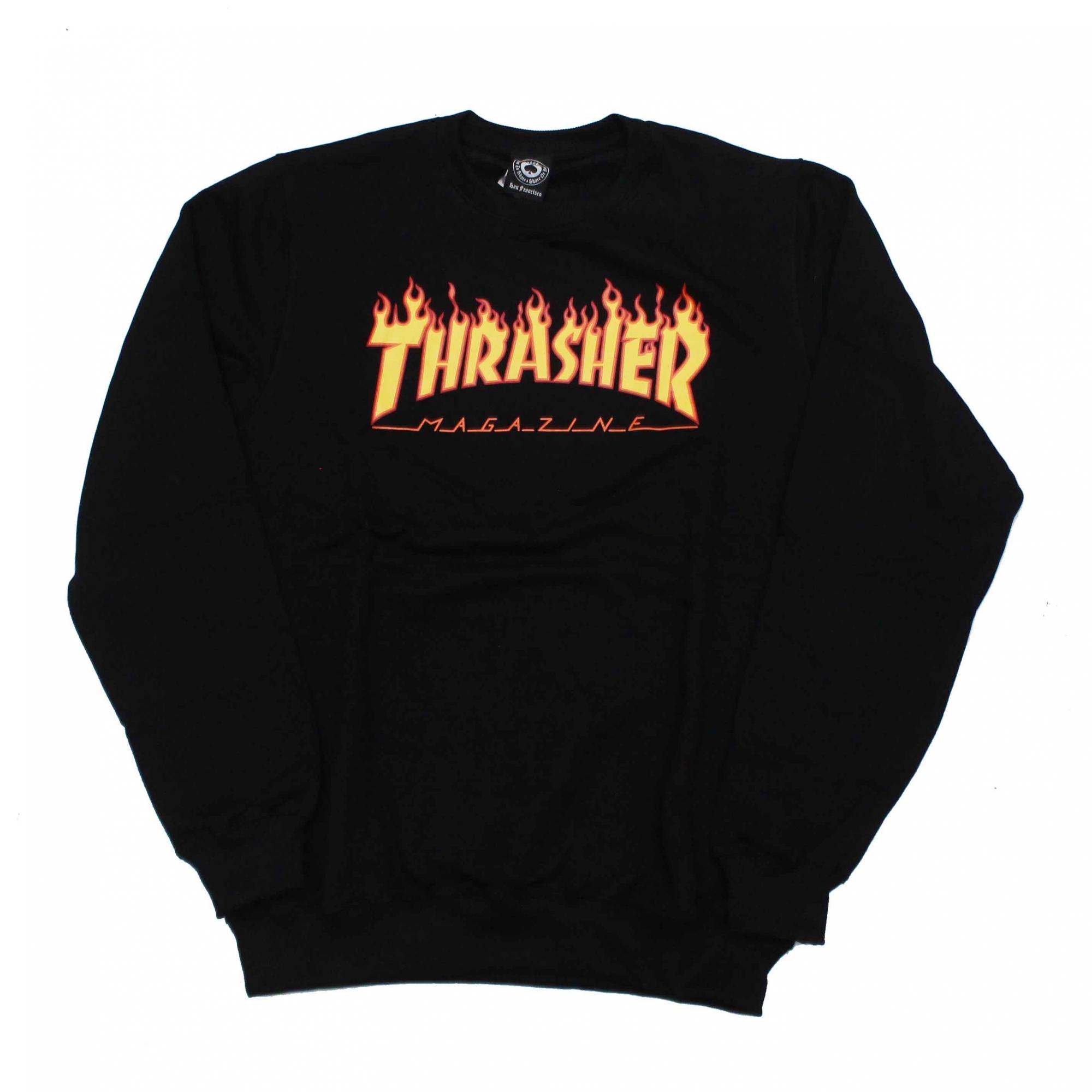 Moletom Thrasher Magazine Careca Classic Flame - Preto