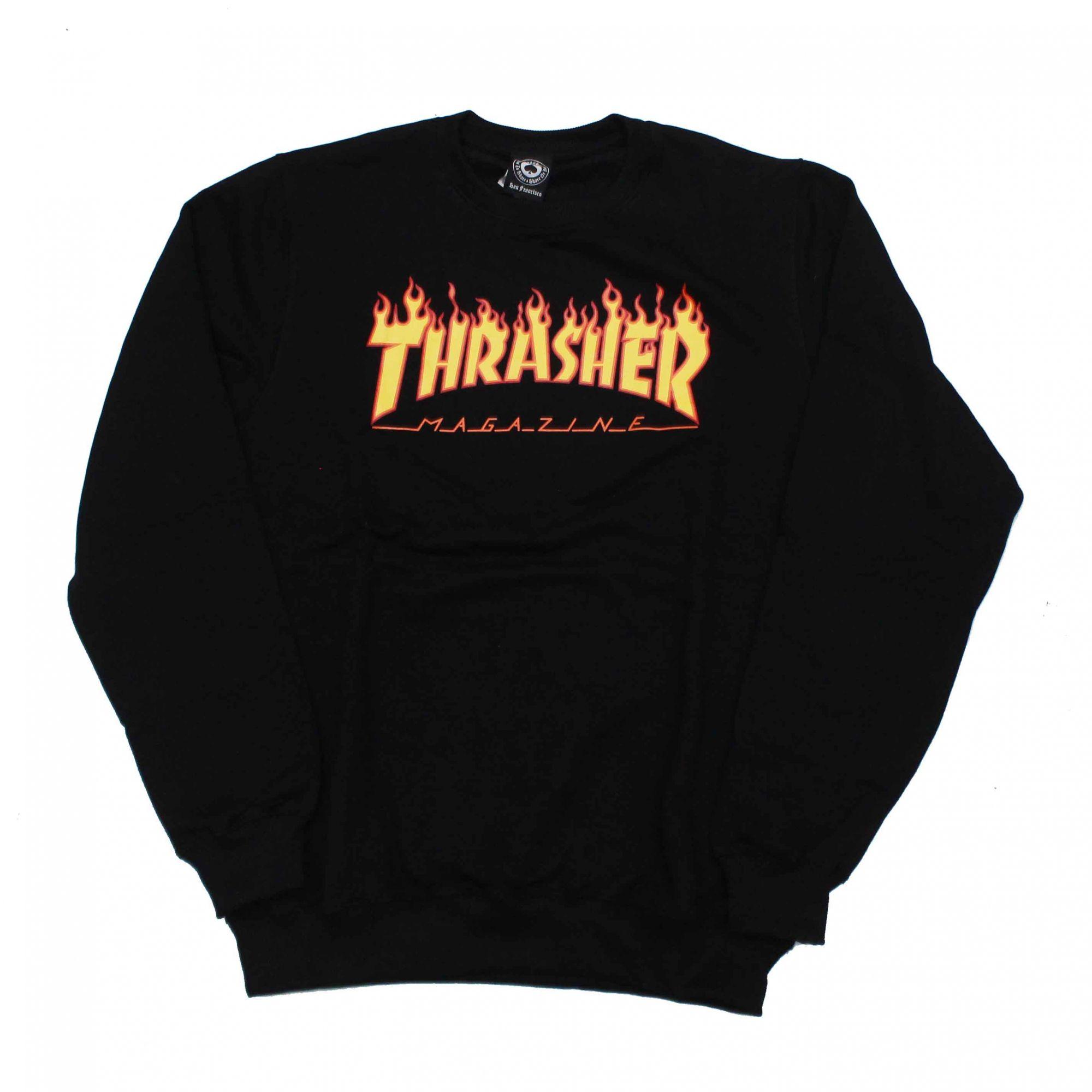 Moletom Thrasher Magazine Careca Classic Flame Preto