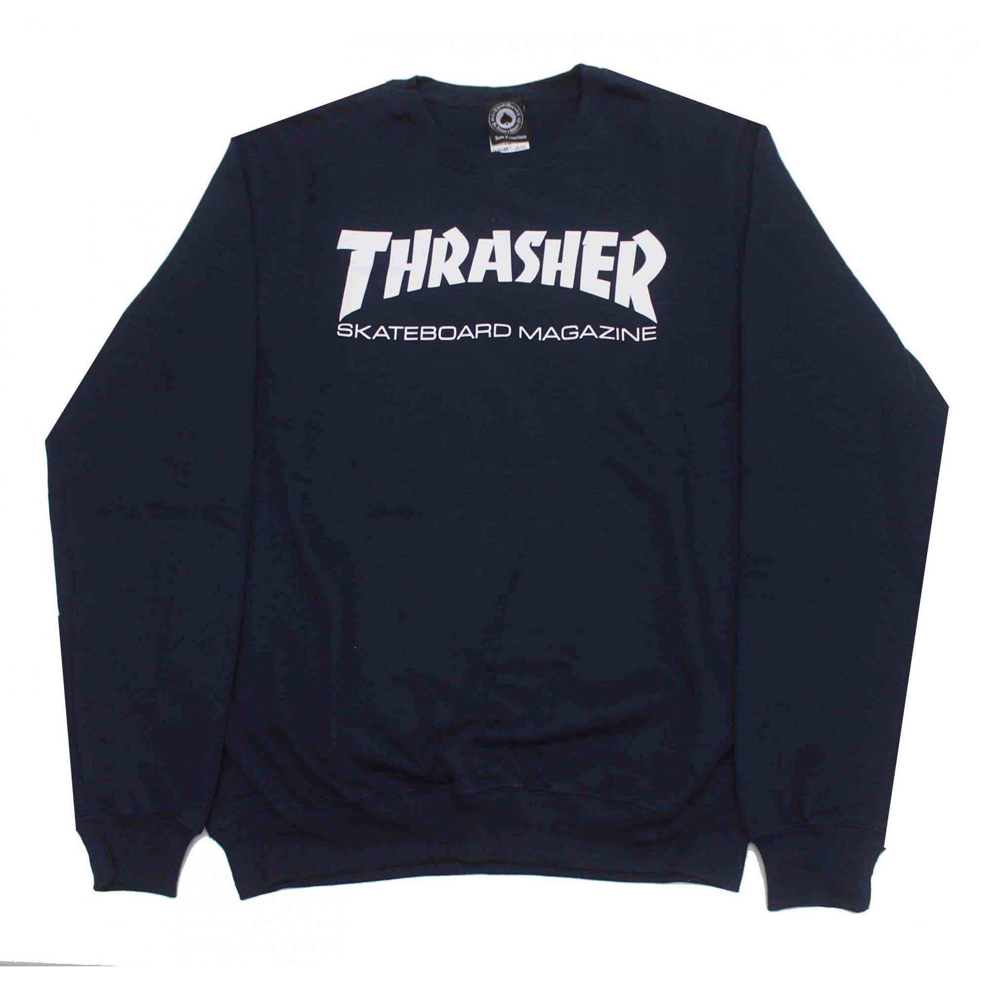 Moletom Thrasher Magazine Careca Skate Mag Azul Marinho