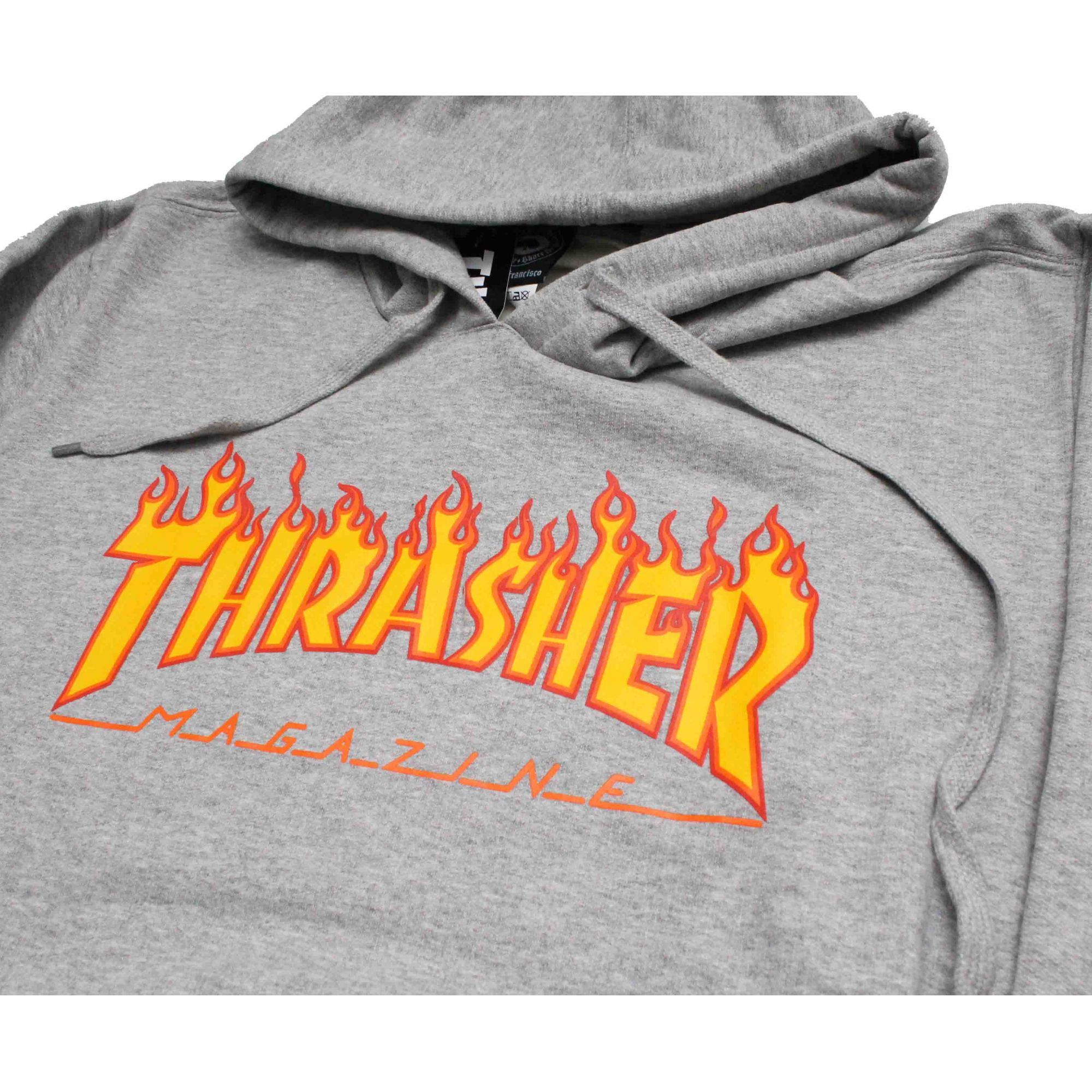Moletom Thrasher Magazine Classic Flame Hoodie Grey
