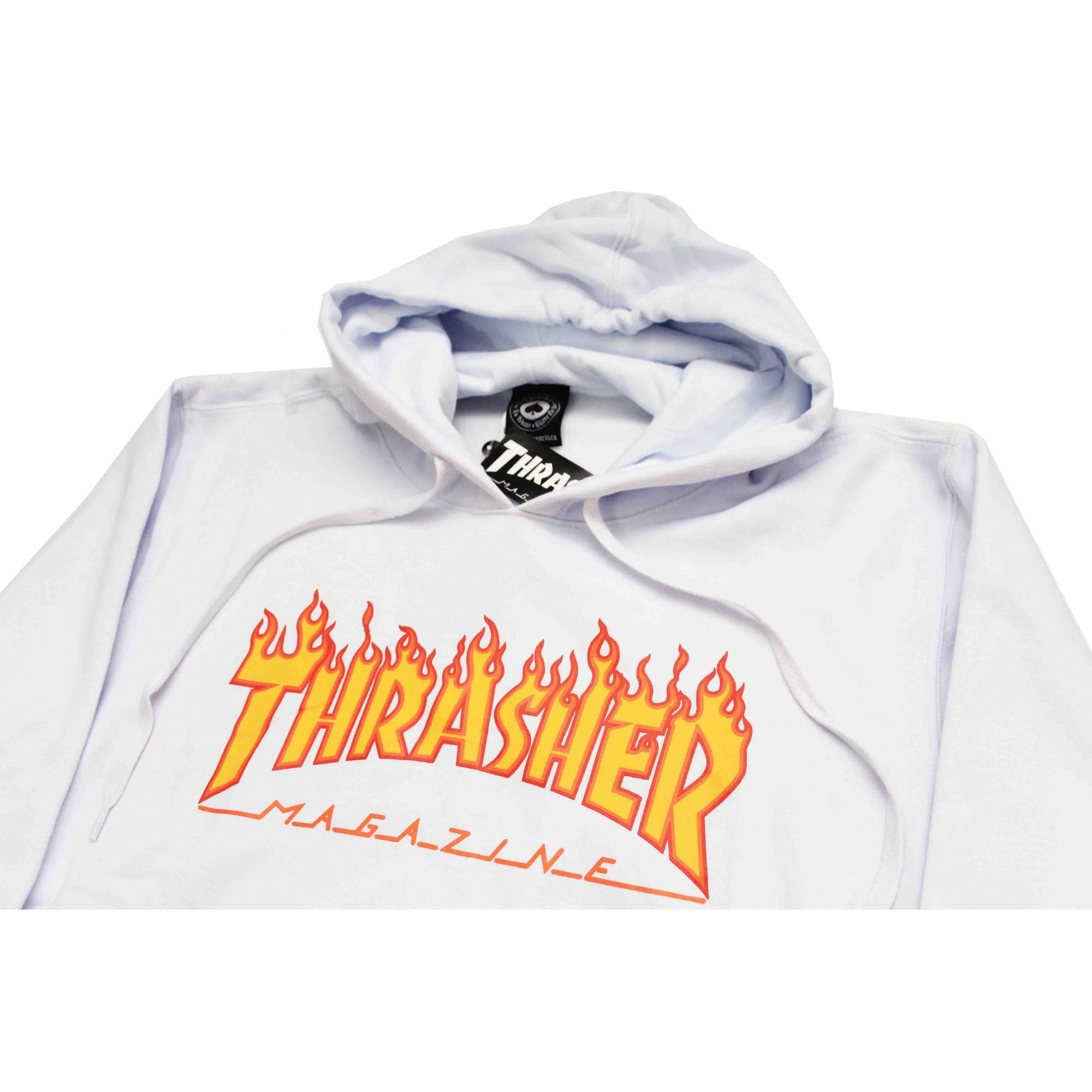 Moletom Thrasher Magazine Classic Flame Hoodie White