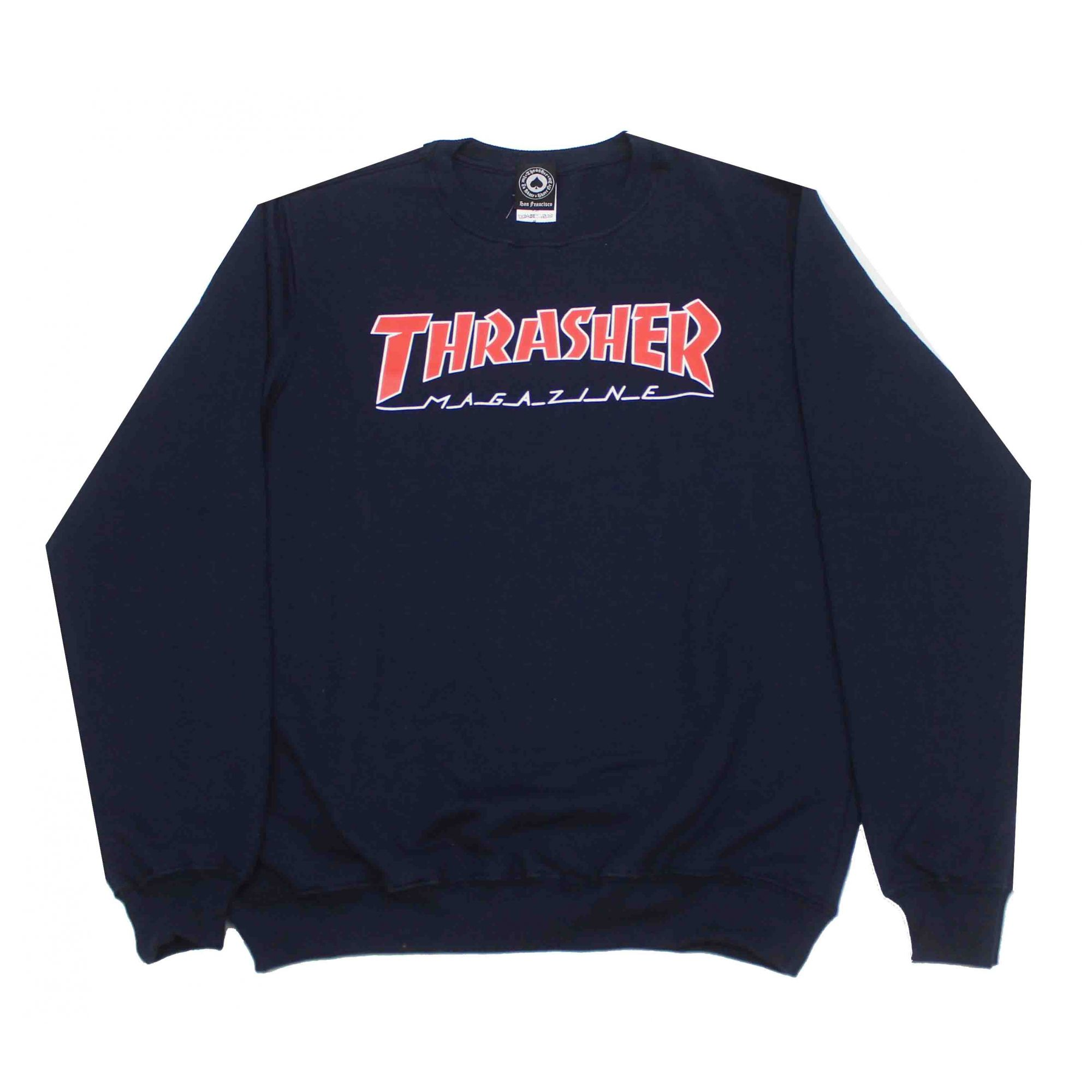 Moletom Thrasher Magazine Outlined Crewneck Azul Marinho