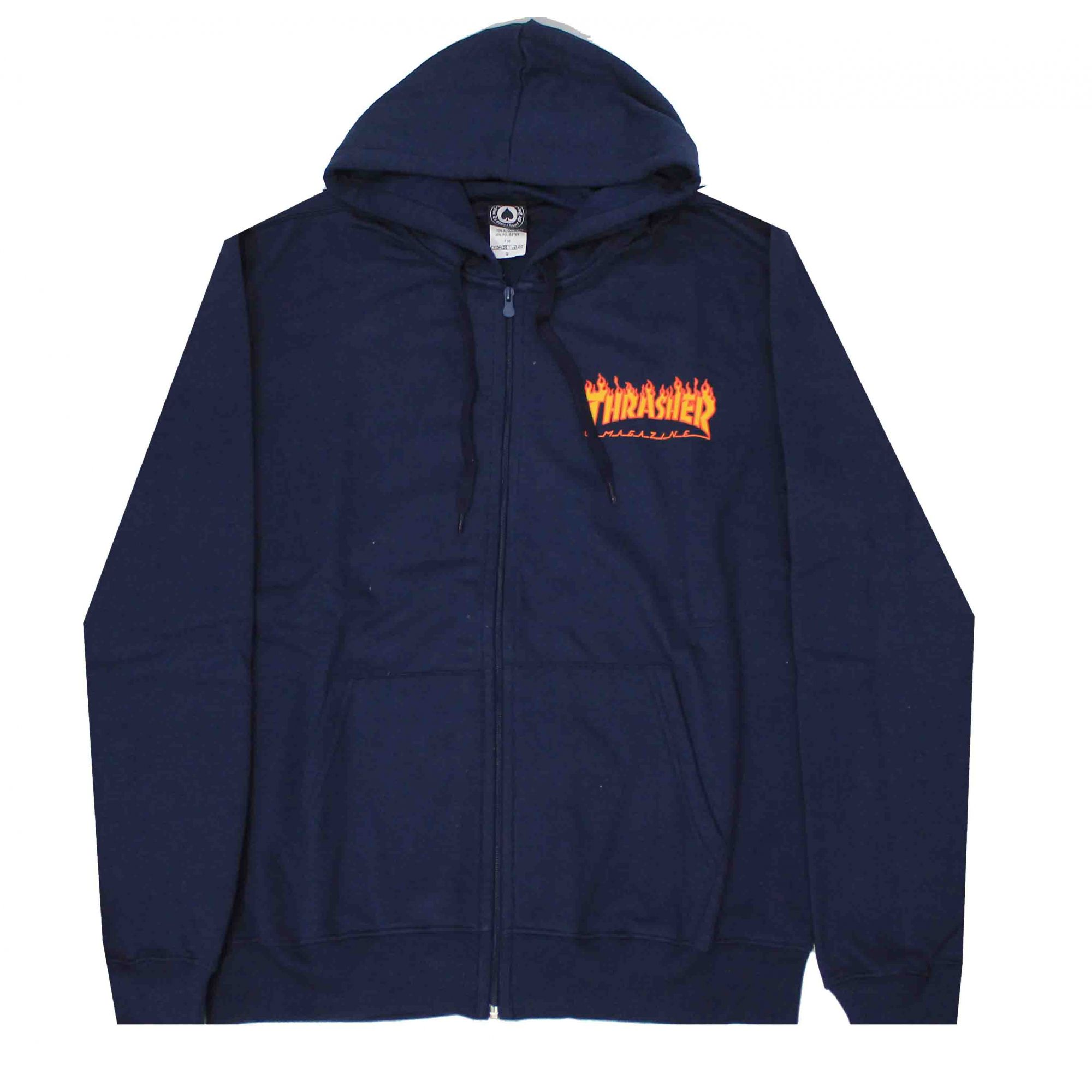 Moletom Thrasher Magazine Zipper Mini Flame - Azul Marinho