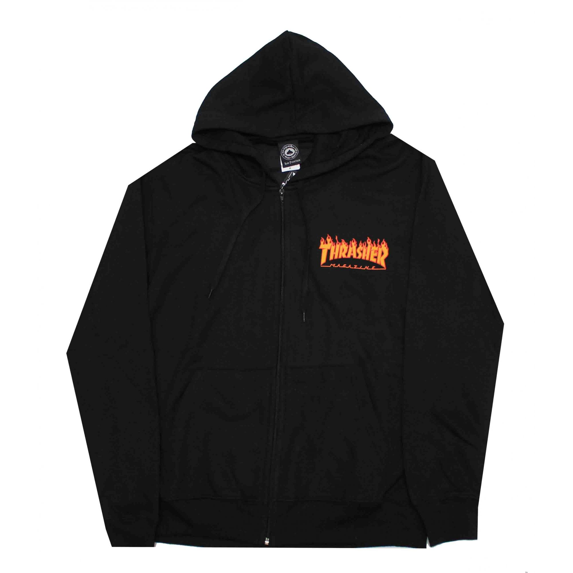 Moletom Thrasher Magazine Zipper Mini Flame Hoodie Black