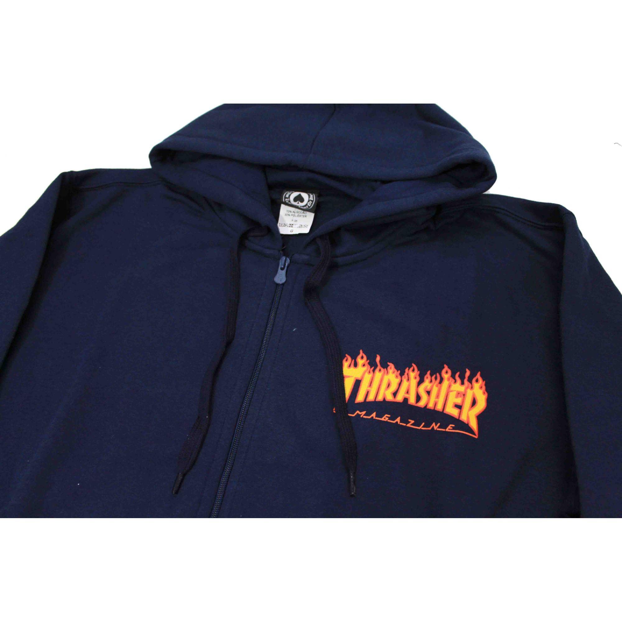 Moletom Thrasher Magazine Zipper Mini Flame Hoodie Blue Navy