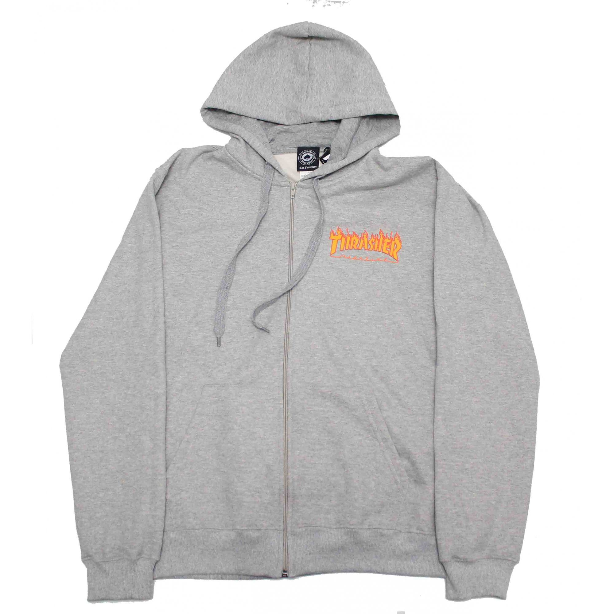 Moletom Thrasher Magazine Zipper Mini Flame Hoodie Grey