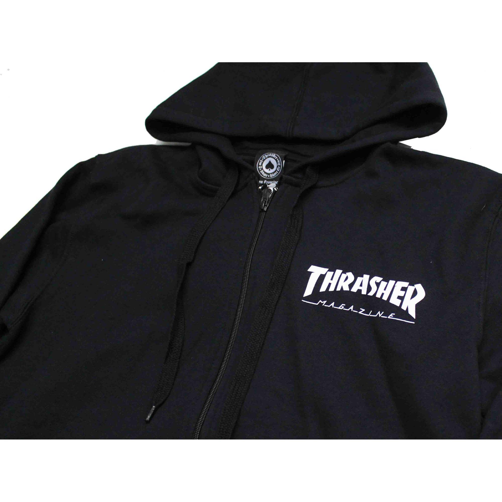 Moletom Thrasher Magazine Zipper Mini Skate Mag Hoodie Black