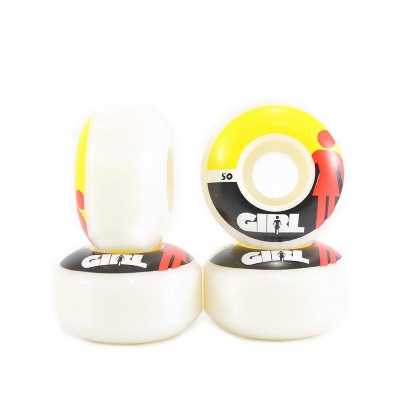 Roda Girl Branco/Amarelo 98A - 50mm (4 rodas)