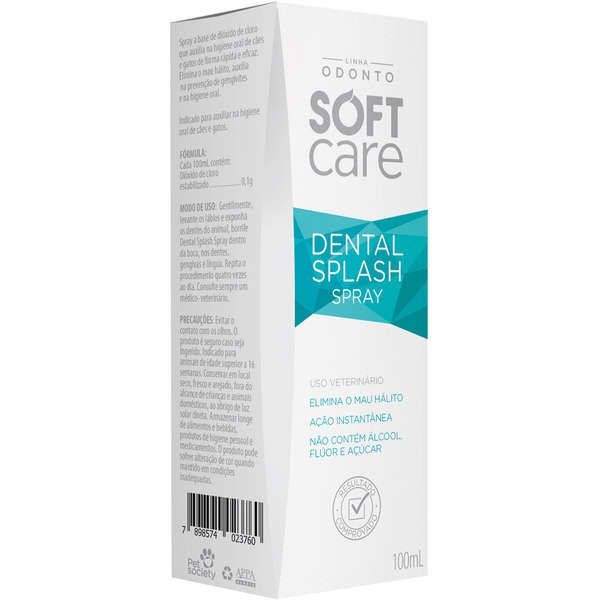 Antisséptico Soft Care Bucal Dental Splash para Cães e Gatos