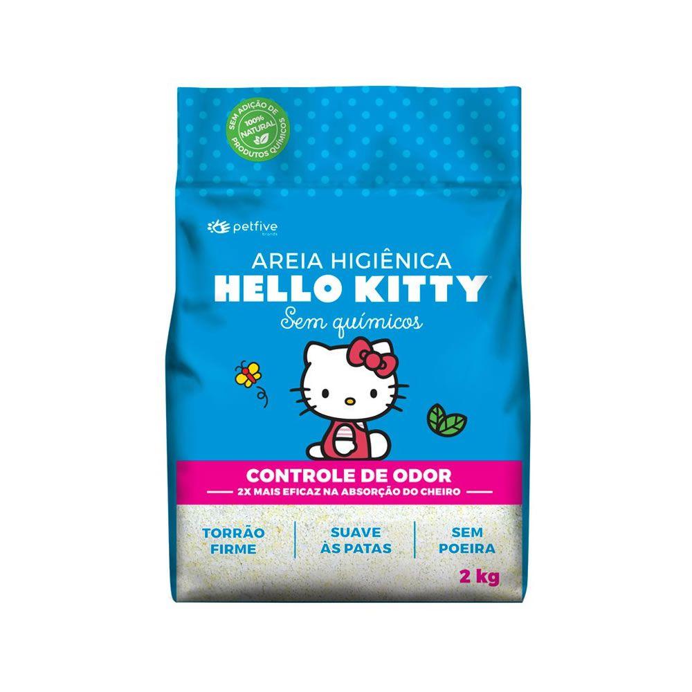 Areia Sanitária Hello Kitty Azul Fina