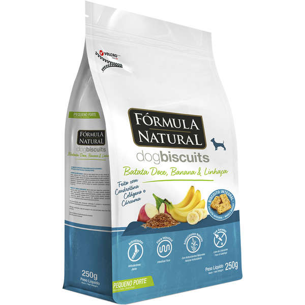 Biscoito Formula Natural Dog Biscuits Batata Doce, Banana e Linhaça Cães Adultos Raças Minis e Pequenas
