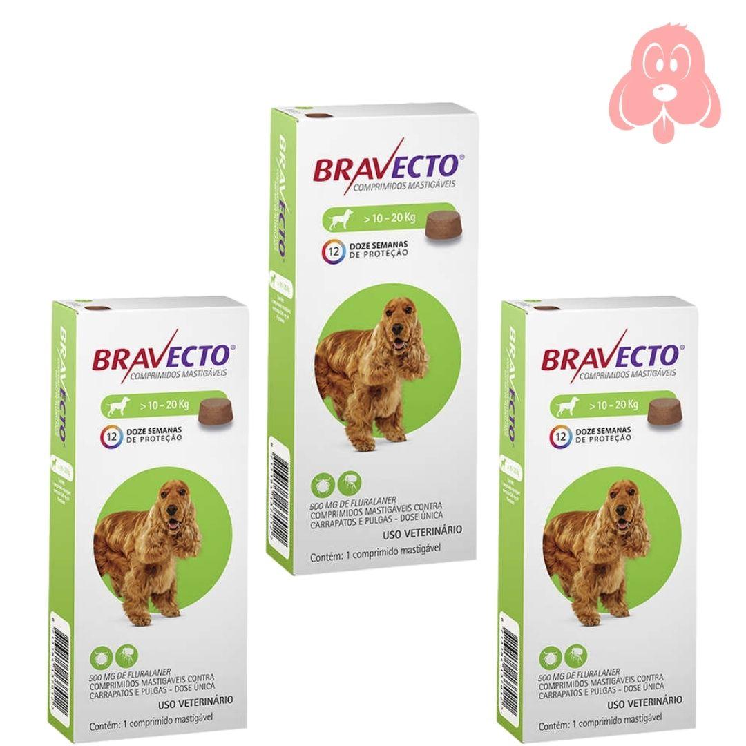 Bravecto 500mg (cães de 10 a 20kg) 3 Unidades