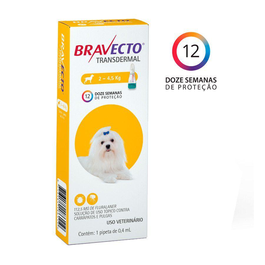 Bravecto Transdermal Cães 112,5mg (2Kg a 4,5Kg)