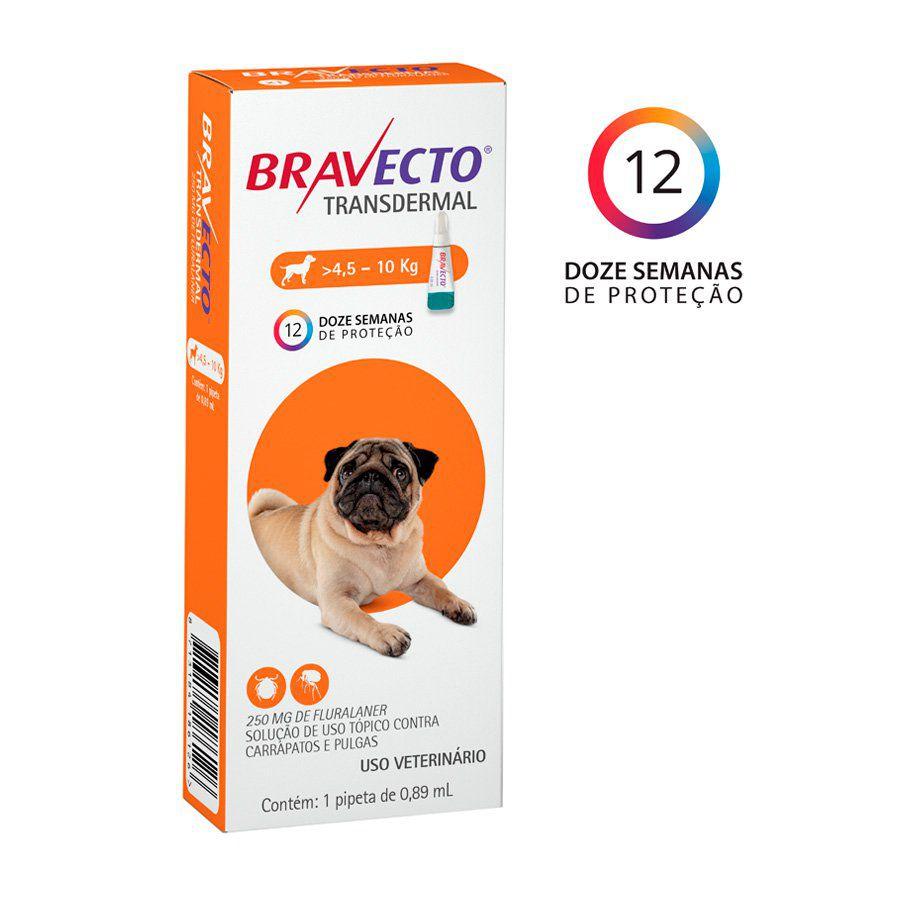 Bravecto Transdermal Cães 250mg (4,5Kg a 10Kg)
