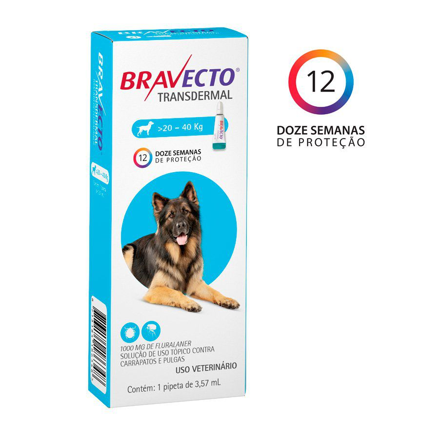 Bravecto Transdermal Cães 1000mg (20Kg a 40Kg)
