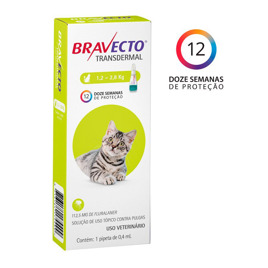 Bravecto Transdermal Gatos 112,5mg (1,2Kg a 2,8Kg)