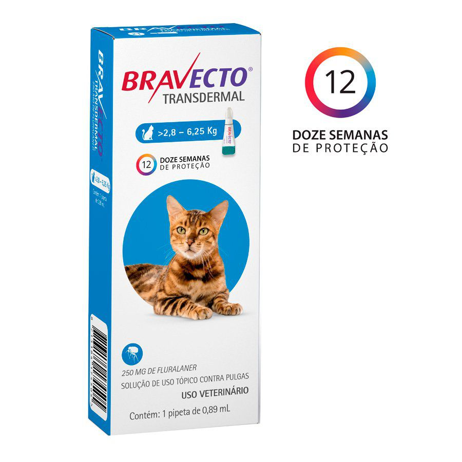 Bravecto Transdermal Gatos 250mg (2,8Kg a 6,25Kg)
