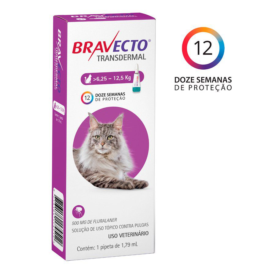 Bravecto Transdermal Gatos 500mg (6,25Kg a 12,5Kg)