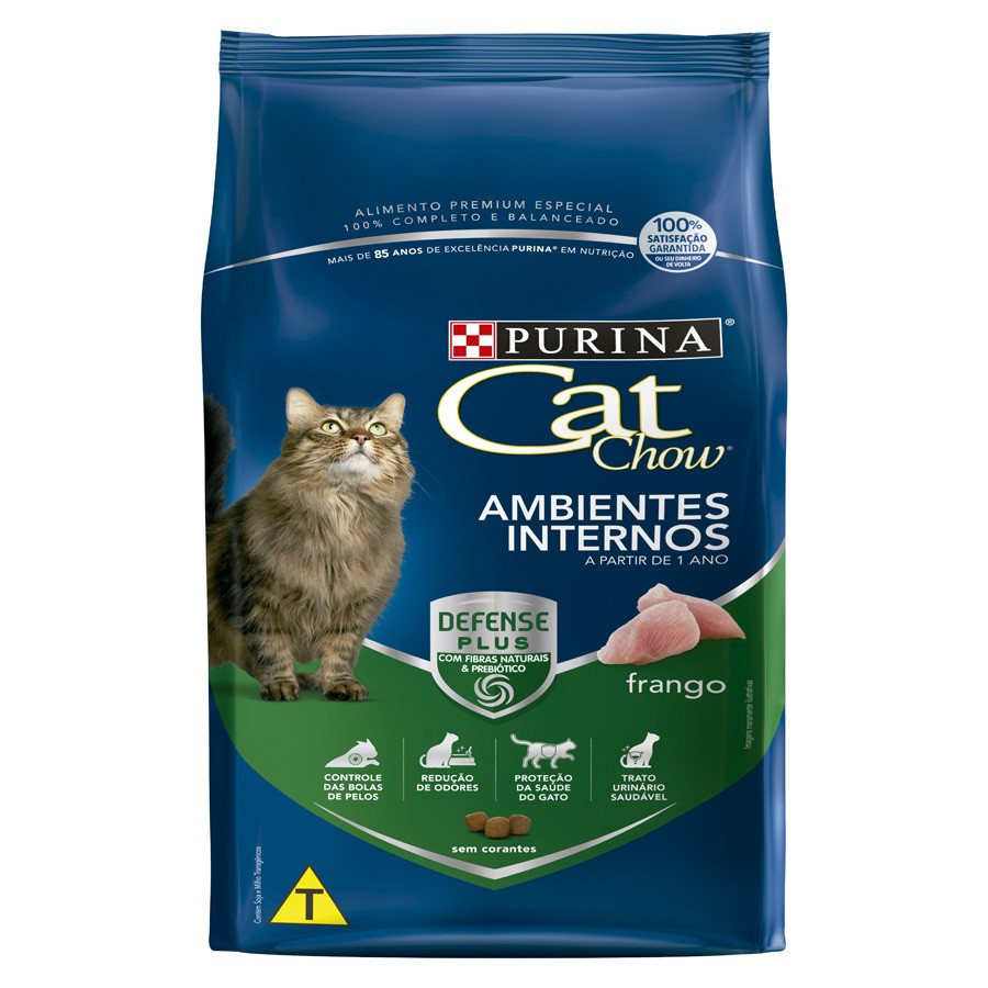 Cat Chow Defense Plus Ambientes Internos Adulto Frango