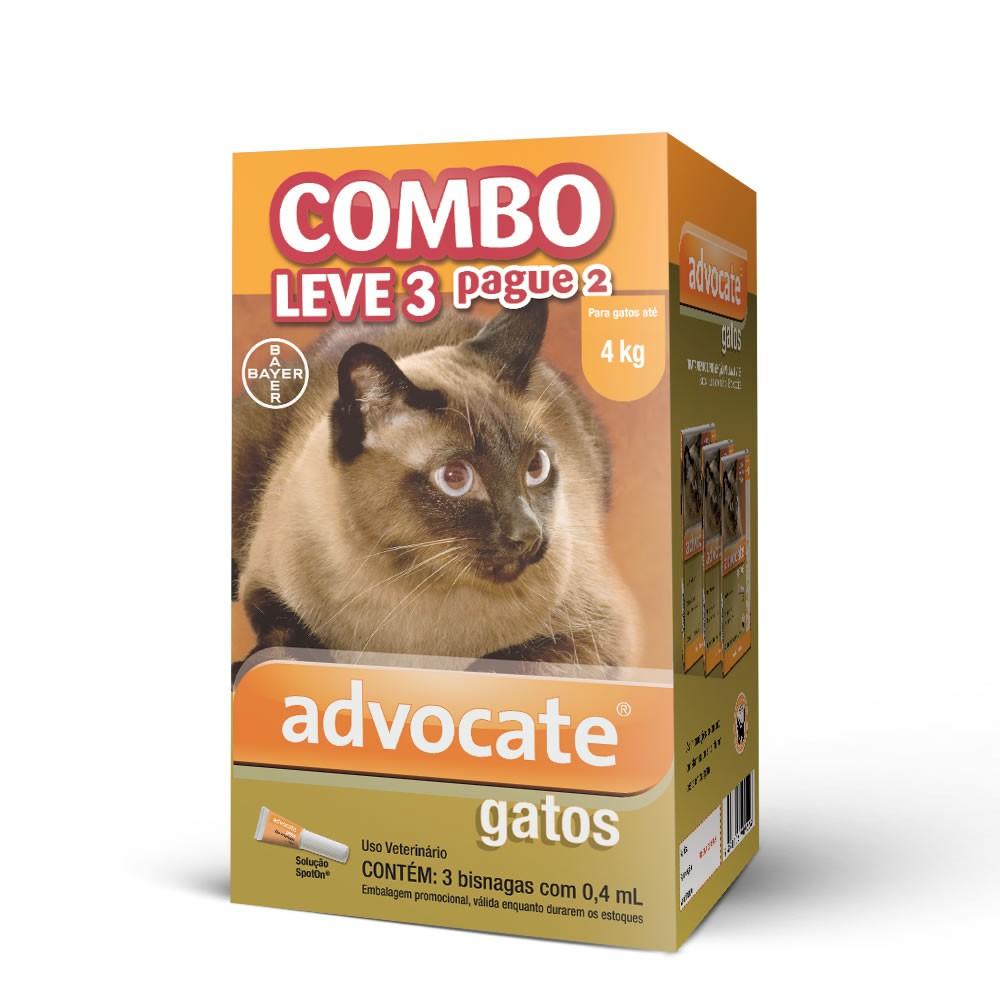 Combo Advocate Gatos ( até 4kg ) - 3x0,4ml