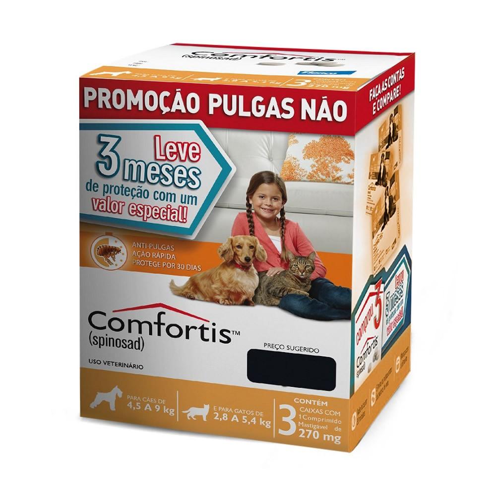 Combo Comfortis (Gatos 2,8kg a 5,4kg) e (Cães 4,5kg a 9kg) - 3x270mg