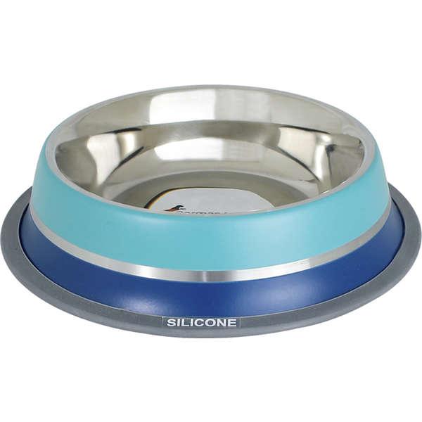 Comedouro Inox com Anel de Silicone Dual Azul