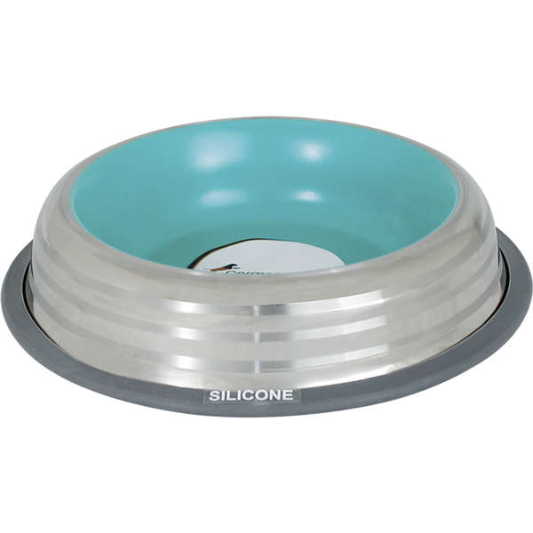 Comedouro Inox com Anel de Silicone Premium Azul