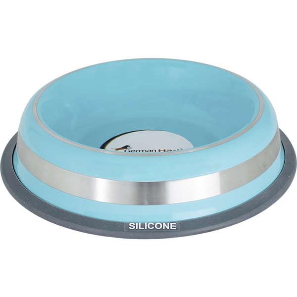 Comedouro Inox com Anel de Silicone Prestige Azul