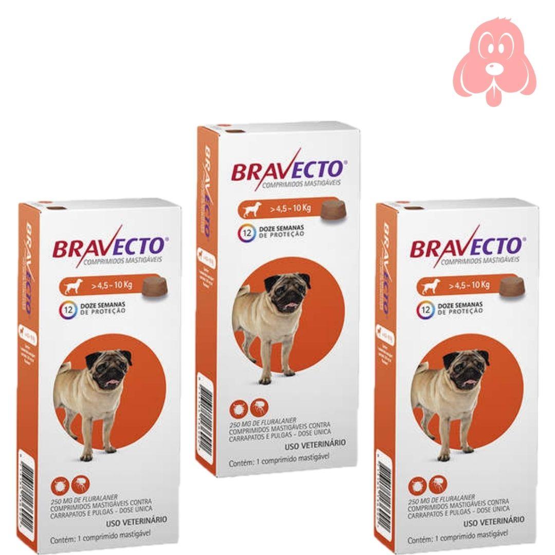 Bravecto 250mg (cães de 4,5 a 10kg) 3 Unidades