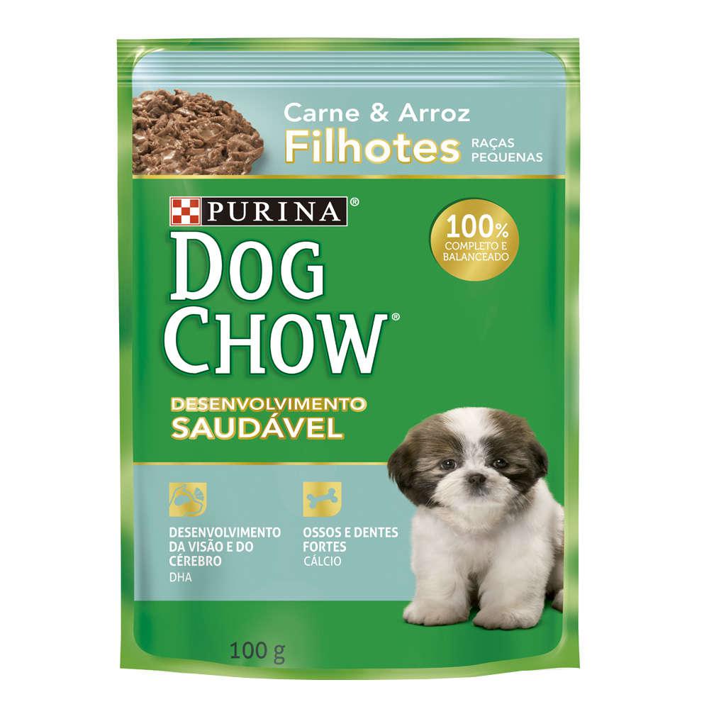 Dog Chow Sachê Raças Pequenas Filhote Carne e Arroz