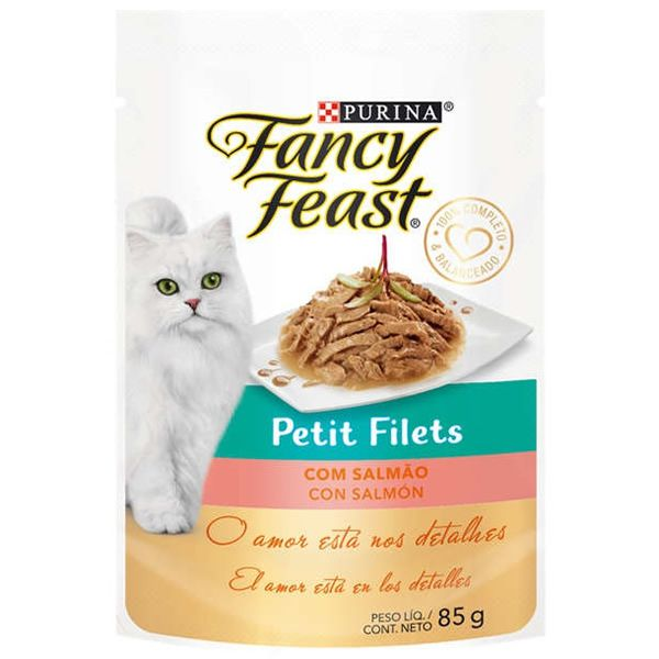 Fancy Feast Sachê Petit Filets com Salmão para Gatos Adultos 85g
