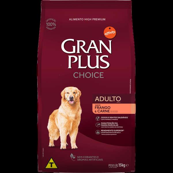 Kit Gran Plus Choice Cães Adultos 20kg +Palitos Natural Bone