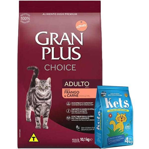Gran Plus Choice Gatos Adultos Frango e Carne 10kg Grátis Areia Kets 4kg