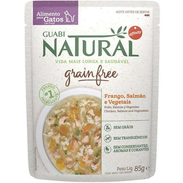 Guabi Natural sachê Grain Free Frango, Salmão e Vegetais Gatos Castrados 85g